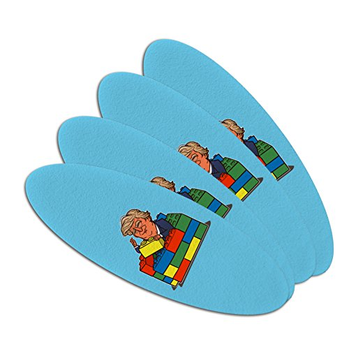 Political Emery Boards - President Trump Building Toy Wall Blocks Bricks USA America Double-Sided Oval Nail File Emery Board Set 4 Pack