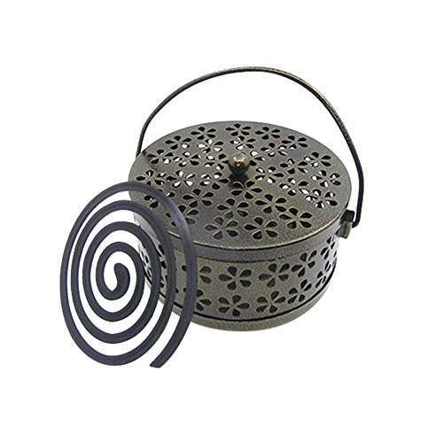 Whthteey Retro Portable Iron Mosquito Coil Holder with Handle Round Fireproof Incense Holder -