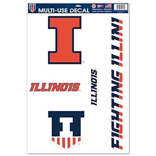 Illinois Fighting Illini Window - Illinois Fighting Illini Official NCAA 11 inch x 17 inch Car Window Cling Decal