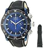 Edox Men's 'Chronoffshore-1' Swiss Quartz Stainless Steel and Nylon Diving Watch, Color:Black (Model: 10221 357BU BUV)