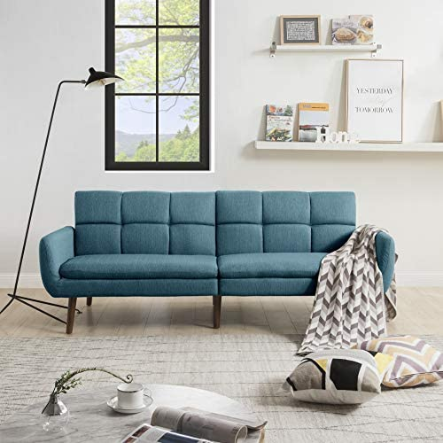 Adjustable Futon Sofa Bed, Upholstery Fabric Living Room Futon Sofa Couch Bed, Green