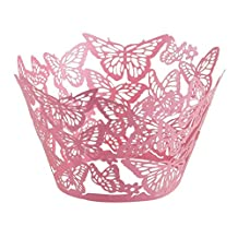 50pcs Pink Butterfly Muffin Cup Cake Wrapper Case Wedding Baby Shower Liner