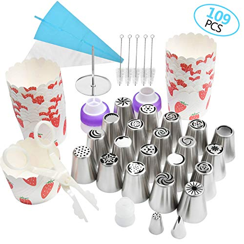 Russian Piping Tips Baking Cake Decorating Supplies Set Flower Frosting Tips Kit for Cupcake Birthday Party - 20 Russian Piping Tips 2 Icing Tips & 2 Couplers ]()