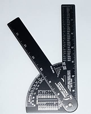 Pocket Rocket: Pipe / Diameter Caliper and Ruler - Fractional - Black Anodized Aluminum