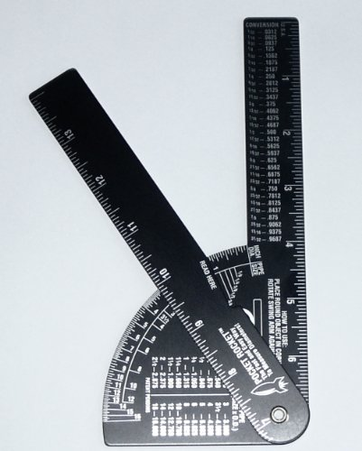 Pocket Rocket: Pipe / Diameter Caliper and Ruler - Fractional – Black Anodized Aluminum (Caliper Rule Tool)