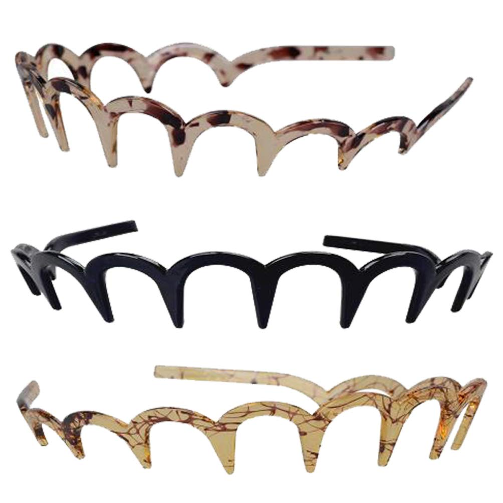 Minkissy Zig Zag Headband Shark Tooth Headband Resin Teeth Comb Hair Hoop Hair Band Hair Accessories for Women Lady Girls 3pcs (Style 2)