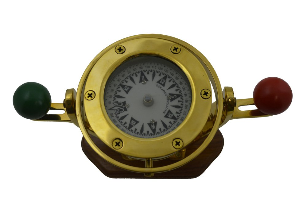 5.5''L V Brass and Wood Nautical Model Compass - Functioning by Nautical Tropical Imports