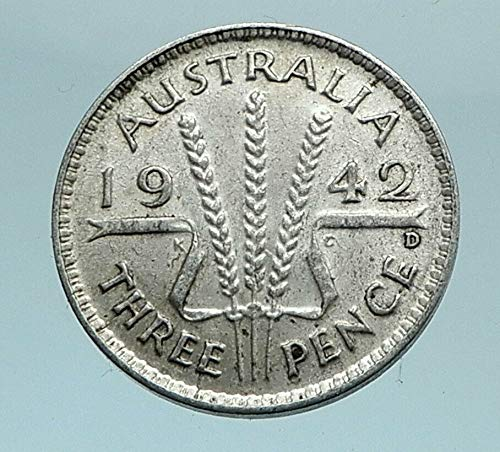 1942 AU 1942 AUSTRALIA - Threepence SILVER Coin - UK King coin Good Uncertified