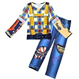 Kid Boys Fortnite Battle Royale Gamer Characters Cosplay Costume Girls Soldier Cowboy Halloween Clothes Pyjamas Novelty Dress up Toy Story Outfits Clothing Set (long blue, 130(7-8years))