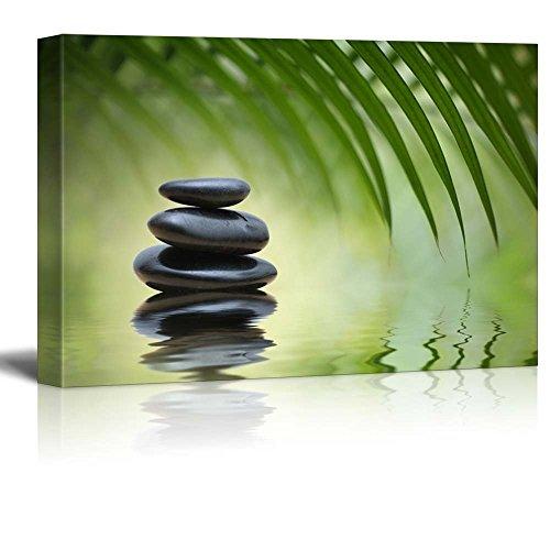 Rocks on a Serene Lake Under a Palm Tree