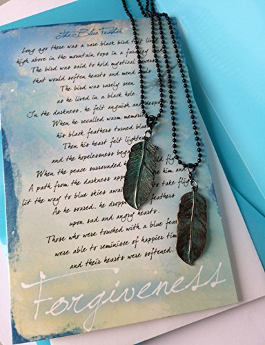 Smiling Wisdom - Blue Feather Apology and Forgiveness Story Gift Set - A Thoughtful Family, Wedding, or Anniversary Gift - 2 Feather Charms w Chains. Accept a Feather as Forgiveness - Give as Apology (Im A White Man Hear Me Out)