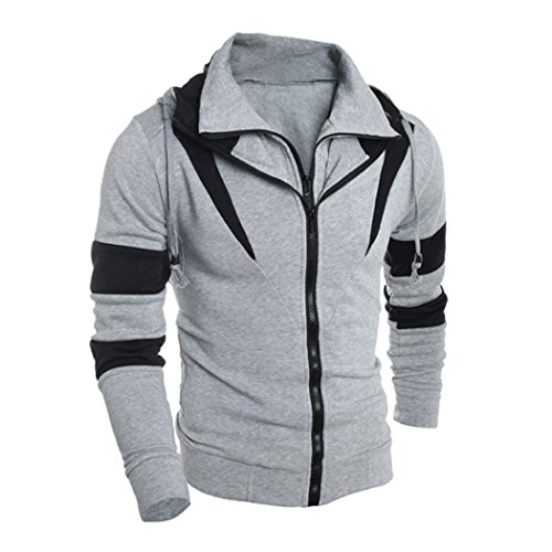 Muranba Men Retro Long Sleeve Hoodie Hooded Sweatshirt Tops Jacket Coat Outwear (XXL, - And Gray Jacket Flak Oakley White