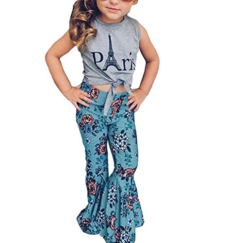 Price comparison product image 2pcs Baby Kids Girl T-Shirt Letter Pattern Round Neck Sleeveless Top + Wide Leg Pants Flower Print Outfit Clothing Set (Grey, 4-5Years)
