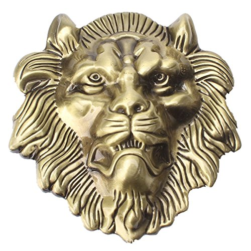 Sam Store® Vintage Lion Head Belt Buckle Western Cowboy Native American Motorcyclist (HLN-01-G) -