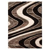 """Cheap SPICA HOME 5'2 by 7'2 Decorative High Pile Shiny Bright Shaggy European Modern Area Rug, Great Quality, Cozy, Pet-Friendly (RED) (5'2"""" x 7′.2"""", BLACK&WHITE WAVE)"""