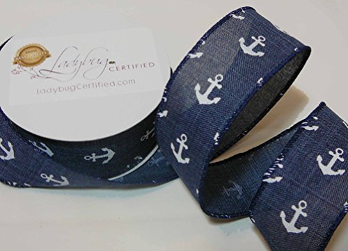 Theme Denim (Navy Denim Ribbon, Anchor, Designer, Nautical Theme, Wired, Navy with White Anchors. 1 ½