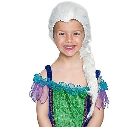 EUROCARNAVALES Peluca Infantil Blanca con Trenza: Amazon.es: Juguetes y juegos