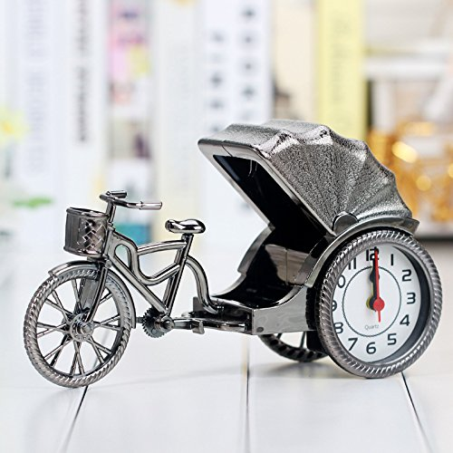 Visic Decorate Daily Life Creative Vintage Rickshaw Model Alarm Clock Home Decoration (Silver)