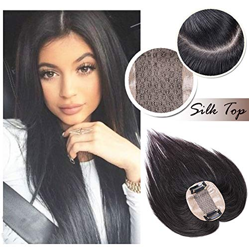 Clip in Topper for Women Human Hair Crown Toupee Silk Base at Middle PU Around Wiglet Hand-made Top Hairpieces Middle Part with Thinning Hair(14