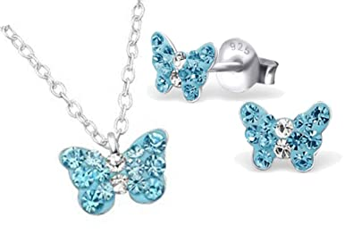 7af0bbf970a52 Girls 925 sterling silver blue crystal butterfly necklace and stud ...