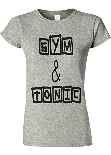 物足りないシャワーアセンブリGym And Tonic Funny Novelty Sports Grey Women T Shirt Top-L