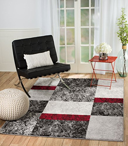SUMMIT BY WHITE MOUNTAIN Rio TN-03AA-GOVE Summit 310 Grey Red Black Area Rug Modern Abstract Many (5′ x 7′.2″), 5′ x 7′.2″ For Sale
