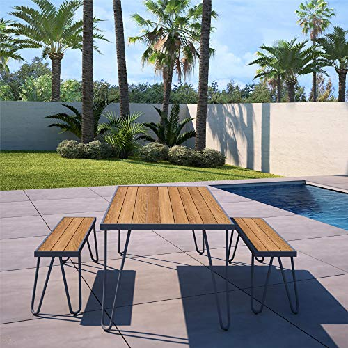 (Novogratz 88192CNOE Poolside Paulette Outdoor Table and Bench Set, Charcoal)