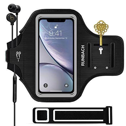 iPhone XR Armband,RUNBACH 6.1 Inch Sweatproof Running Exercise Gym Cellphone Sportband Bag Fingerprint Touch/Key Holder Card Slot iPhone XR (Black)