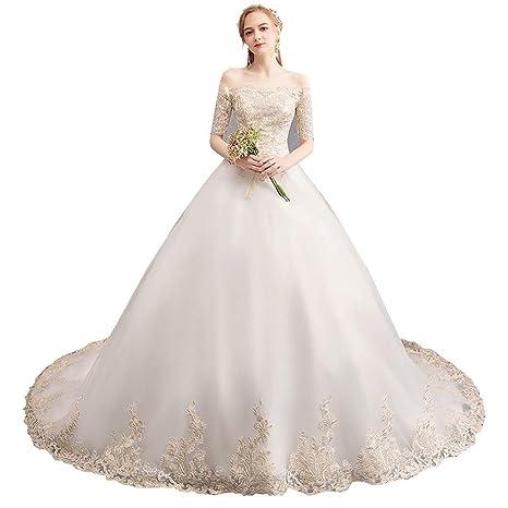 Hksfnsj Vestido de Novia Vestido de Novia Novia Princesa ...