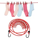 LOHOME Elastic Clothesline - Portable Travel Adjustable Clotheslines Retractable with 12pcs Clothespins Lightweight Household Bungee Cord for Outdoor or Indoor 72 inch Set of 2 (Red)