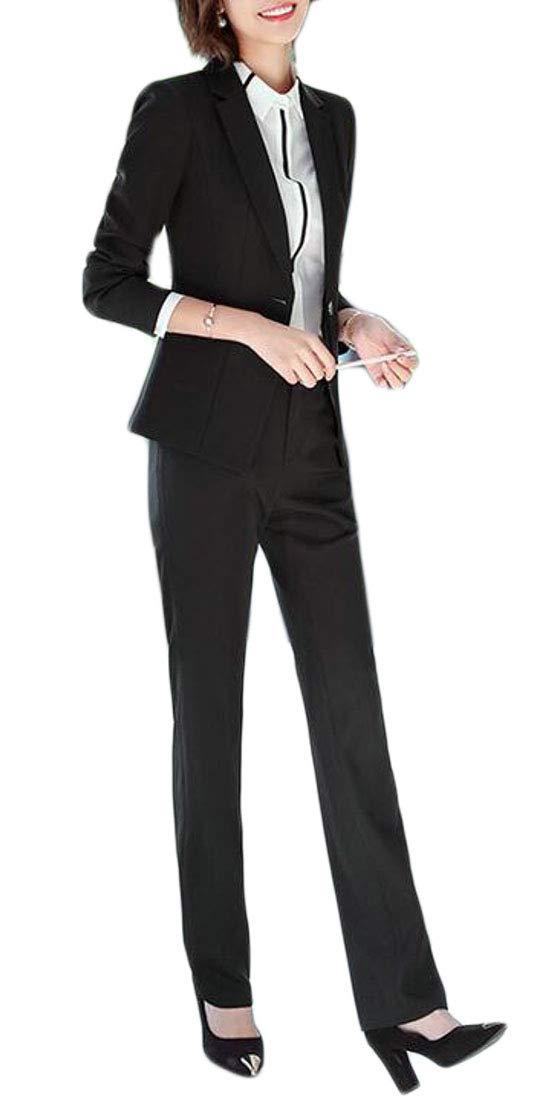 Sweatwater Women's Blazer Coat Classic-fit Two Pieces Business Formal Office Suit Sets Black S