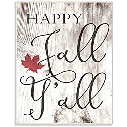 The Stupell Home Decor Collection Happy Fall Y'All Typography Sign Wall Plaque Art, 10 x 15