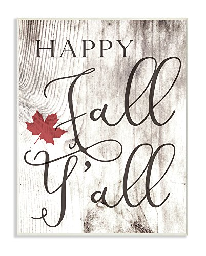 The Stupell Home Décor Collection Happy Fall Y'all Typography Sign Wall Plaque Art, 10 x 15