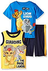 Disney Toddler Boys' 3 Piece Lion Guard Muscle Tank, T-Shirt and Short Set, Blue, 2t