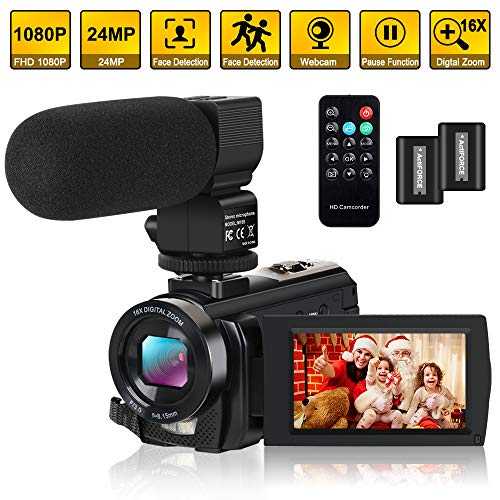 Video Camera Camcorder Digital YouTube Vlogging Camera Recorder FHD 1080P 24.0MP 3.0 Inch 270 Degree Rotation Screen 16X Digital Zoom with Microphone