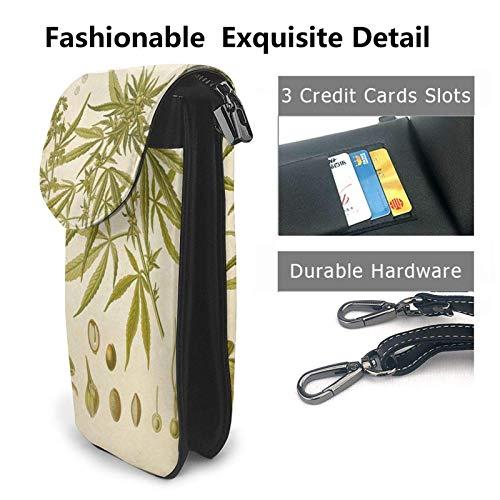 HYJUK Mobiltelefon crossbody väska vintage botaniska ritningar kvinnor PU-läder mode handväska med justerbar rem