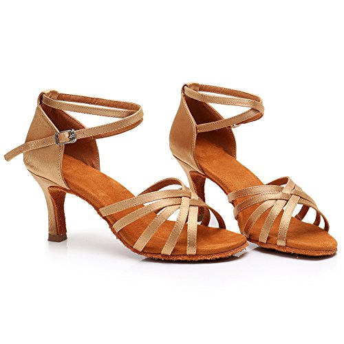 Heel 2 Height 7CM Heel Women's Model Standard HIPPOSEUS 76inches 5 Dance Shoes UKLP1213 Latin Beige wxq4X17p
