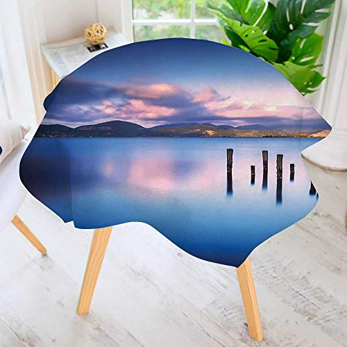 UHOO2018 Easy-Care Cloth Tablecloth Round-Wooden Pier Tops Remain in Lake with Sunset Mirror Image Out Different Perspectives Great for Buffet Table, Parties, Holiday Dinner & More 50