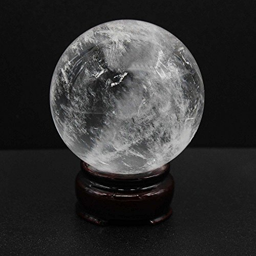BEADIY-Big Size Natural Quartz Stone Crystal Healing Ball Quartz Sphere 60MM With Wooden Stand