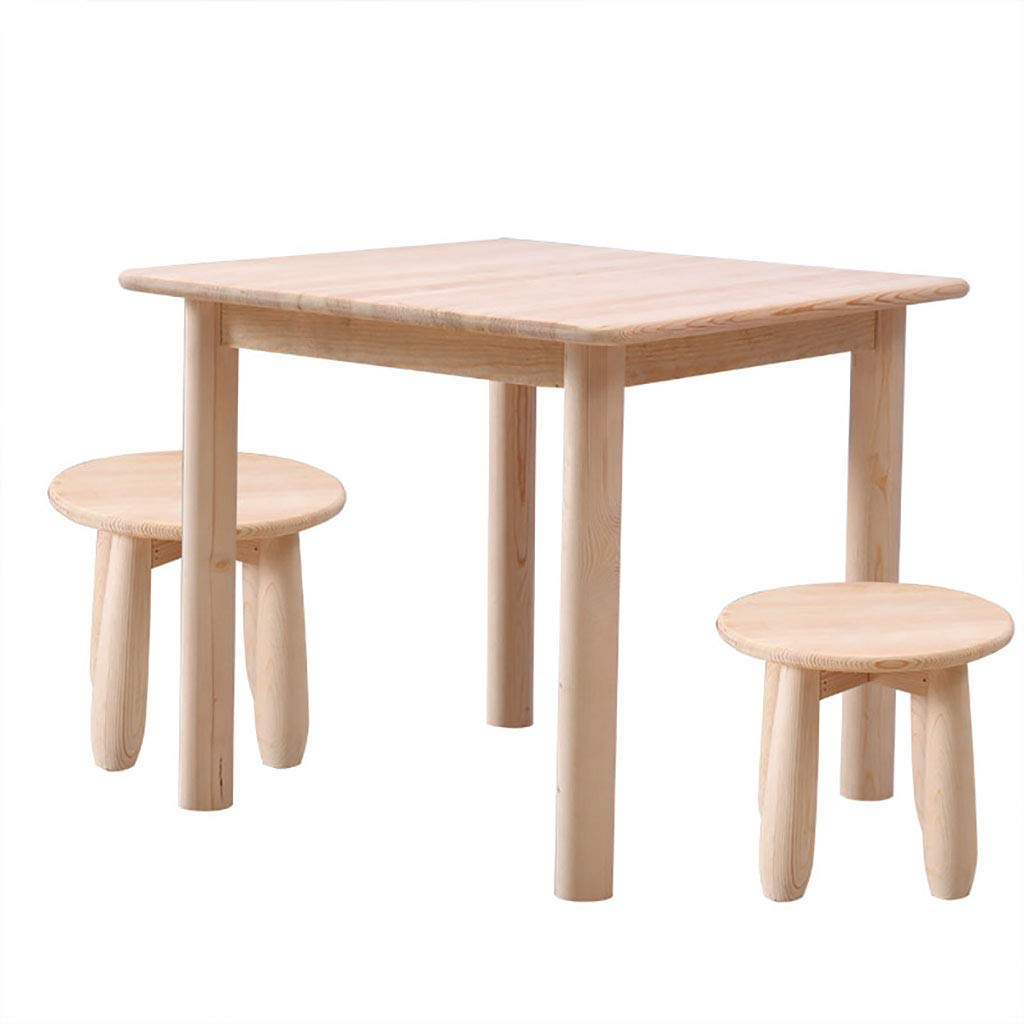 純木のテーブルと椅子のセット、子供の学習ライティングデスクのための活動テーブル、屋外の庭のための長方形のプレイテーブル、寝室、リビングルーム、子供部屋 B07T2RXV39  1 table 2 stools
