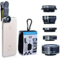 Cell Phone Lens 2x Telephoto Lens / 0.63x Wide Angle Lens / 15x Macro Lens / 198 Fisheye Lens with Universal Clip for iPhone Samsung HTC LG and Most Smartphones 5 in 1 Camera lens kit (Black)