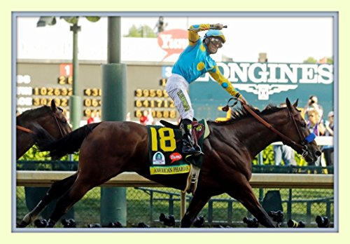 Victor Espinoza Celebrates and American Pharoah Wins the Kentucky Derby 11x14 Double Matted 8x12 Photo Print Triple Crown Winner - Churchill Crown