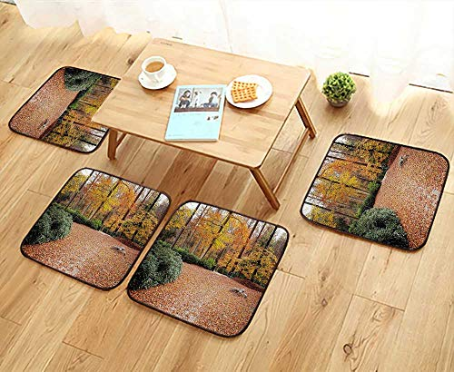 Leighhome Home Chair Set Forest with Deciduous Trees Fall Leaves in Faded Eco Image Marigold Amber Hunter Machine-Washable W21.5 x L21.5/4PCS Set