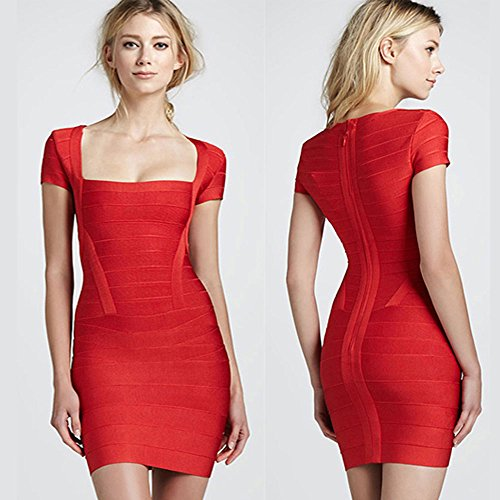 HLBandage Cap Sleeve Square Collar Stripe Rayon Women Bandage Dress Rojo