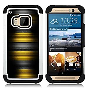 BullDog Case - FOR/HTC ONE M9 / - / Yellow Stripes /- H??brido Heavy Duty caja del tel??fono protector din??mico - silicona suave