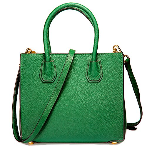 Genuine Leather Handbags Top Handle Bags for Women Cowhide Satchel Purses - Green