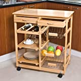 SoBuy Wooden Kitchen Trolley with Shelves & Drawers,Hostess Trolley,Kitchen Storage Rack FKW04-N, natural,67x 37 x 75cm