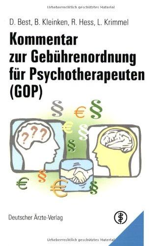 Kommentar zur Gebührenordnung für Psychotherapeuten (GOP)