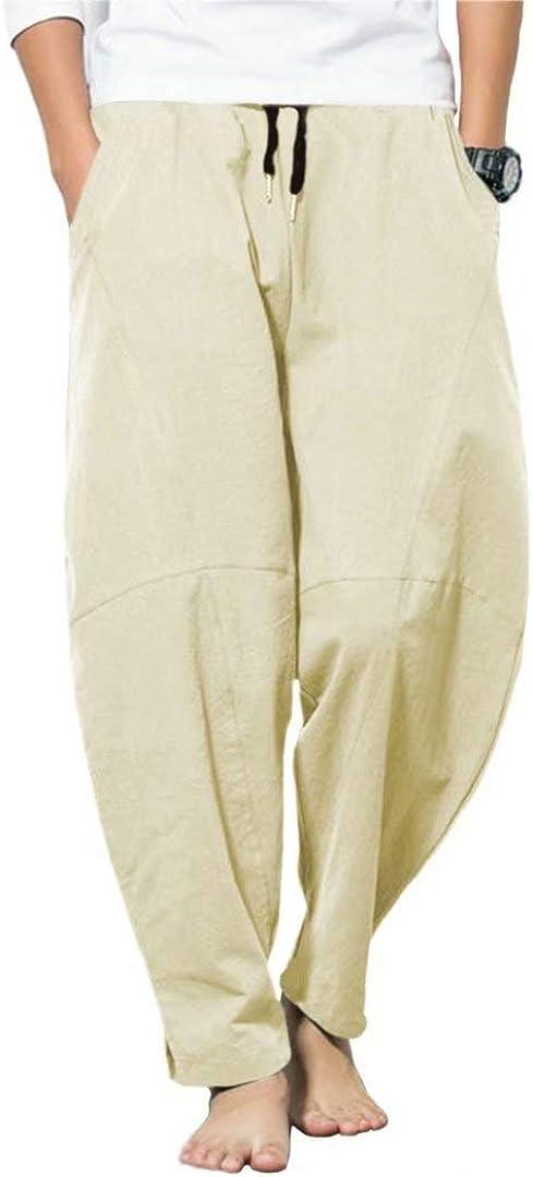 INVACHI Men's Comfy Pants Linen Cotton Loose Fit Casual Elastic Waist Wide Leg Trousers