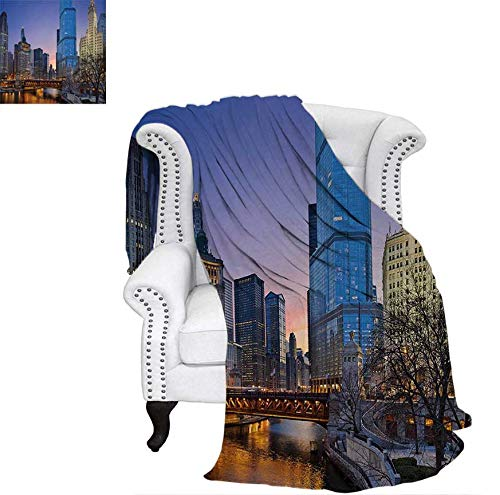 Summer Quilt Comforter USA Chicago Cityscape with Rivers Bridge and Skyscrapers Cosmopolitan City Image Digital Printing Blanket 70